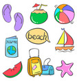 art summer object doodles vector image