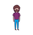 bearded man casual clothes standing on white vector image