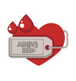 blood donation center isolated icon heart and red vector image vector image