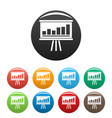 business strategy icons set color vector image