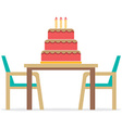 Cake On A Table With Chairs On White Background vector image
