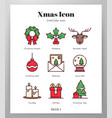 christmas icons linecolor pack vector image