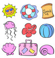 collection of element summer doodles vector image vector image