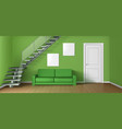 empty living room with sofa staircase and door vector image