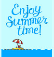 enjoy summer time lettering poster background vector image vector image