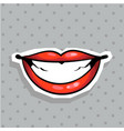 fashion patch badge with sexy lips whide smiling vector image vector image