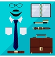 Flat business collection dress Businessman tools vector image