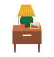 furniture and decor for bedroom table with lamp vector image vector image