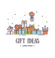 gift ideas poster banner card with color thin line vector image