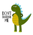 grumpy dino t-shirt design vector image vector image