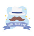 happy fathers day moustache hat stars vector image