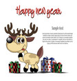 happy new year card and deer vector image