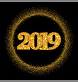 happy new year shiny gold number in circle frame vector image