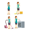 housewife mother cleaning cooking and working on vector image vector image