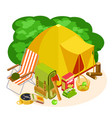 isometric camping equipment set isolated on vector image vector image