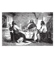 jesus appears to cleopas and another disciple at vector image vector image