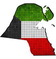 Kuwait map with flag inside vector image vector image