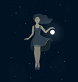 levitating girl with a ball vector image vector image
