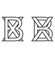 logo sign bx xb icon sign two interlaced letters b vector image vector image