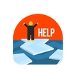 Man On Ice Floe Crying For Help vector image