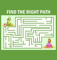 maze game find a frog princes way to princess vector image