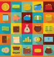money icons set flat style vector image
