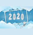 paper art happy new year 2020 vector image vector image