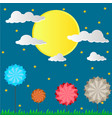paper design with the sun and rocket in brighter vector image vector image