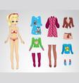 Paper Retro Autum Blonde Doll vector image