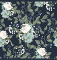 pattern with roses eucalyptus succulent vector image vector image