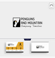 penguin and mountain logo template and business vector image