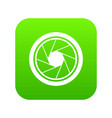 photographic objective icon digital green vector image vector image