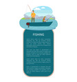 river or lake fishing on motor boat poster vector image vector image