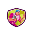 Rugby Player Fend Off Low Polygon vector image vector image