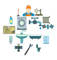 sanitary engineering flat icons vector image vector image