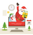 santa claus and snowman popping out from computer vector image vector image