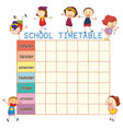 school time table with doodle children vector image vector image