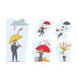 set businessmen characters stand under umbrella vector image vector image