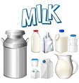 Set of fresh milk in different containers vector image