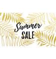 summer sale gold palm leaf pattern background vector image