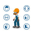 worker with his personal protective equipment vector image vector image