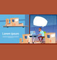 man use computer work on delivery service package vector image
