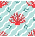 Seamless patterns with corals and anchors vector image