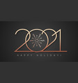 2021 happy new year banner gold style vector image