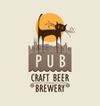 banner for beer pub with cat in an old town vector image vector image