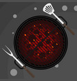 big fork and spatula on grill vector image vector image