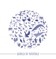 Blue globe outline made from animals icons vector image vector image