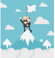 boss businessman holding success flag standing on vector image vector image