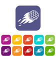 burning golf ball icons set flat vector image vector image