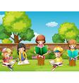 Children reading books in the garden vector image vector image